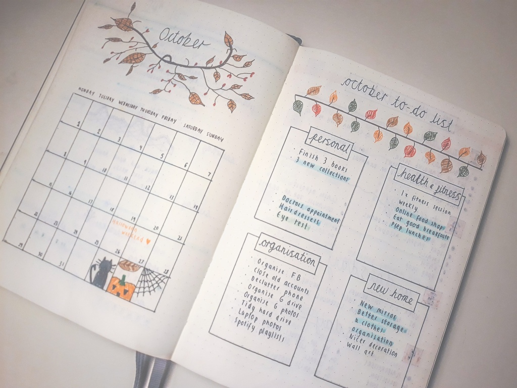 There is an October calendar and my October to-do list from my bullet journal. My to-do list headings are personal, health & fitness, organisation and new home. They are each a separate box with smaller to-dos listed within. There are brown leaf drawings used to represent Autumn.