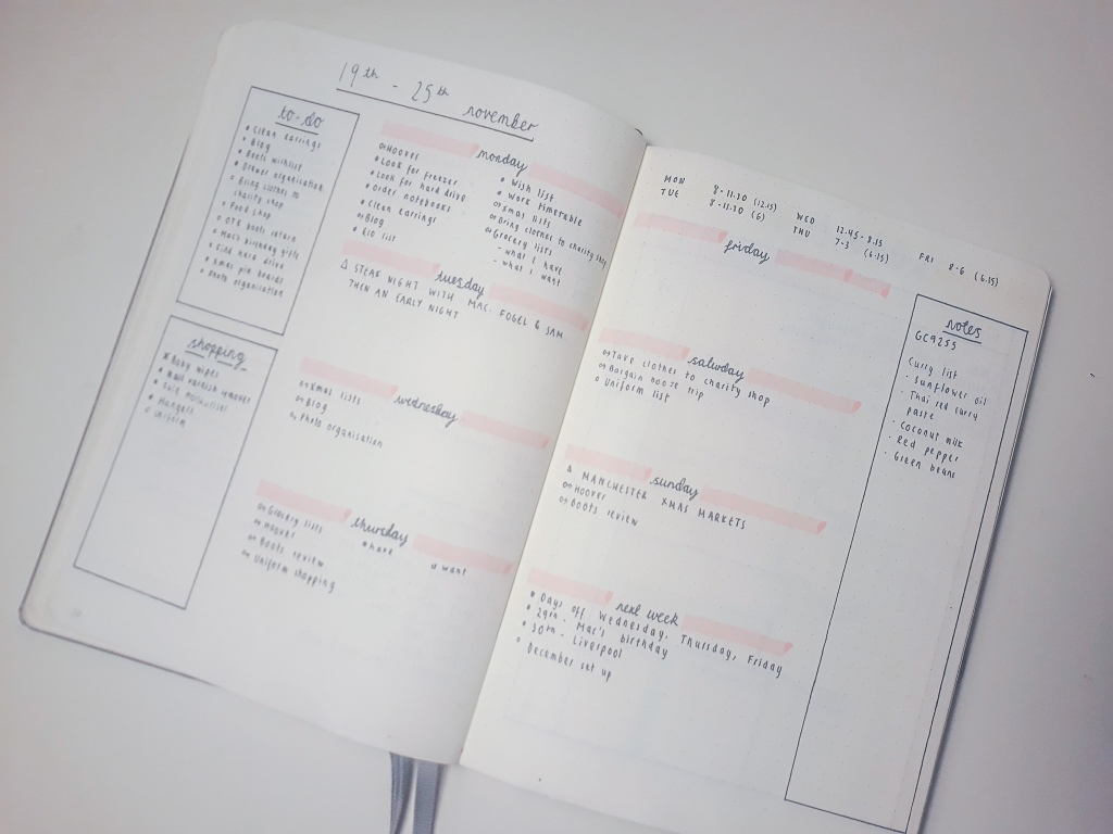 A weekly spread with to-do, shopping and notes sections surrounding a weekly planner, using pink highlighter to decorate.