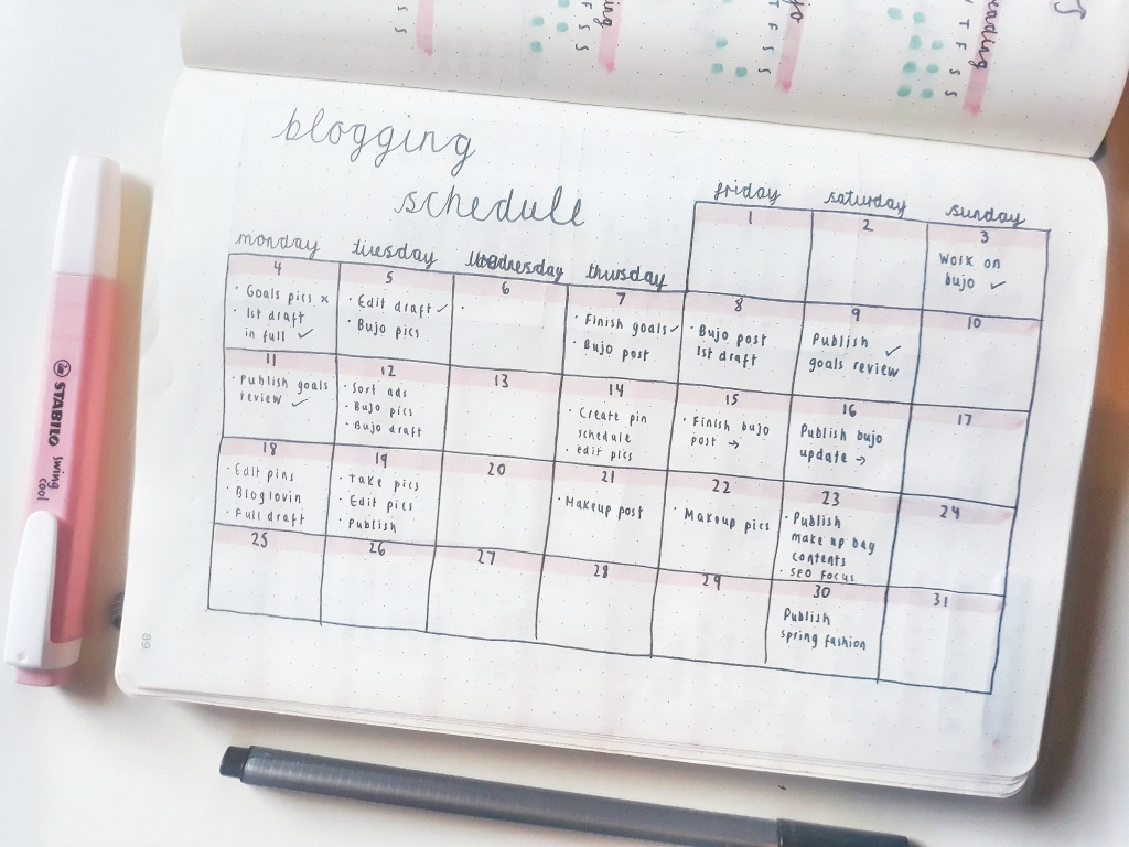 My bullet journal blogging schedule.