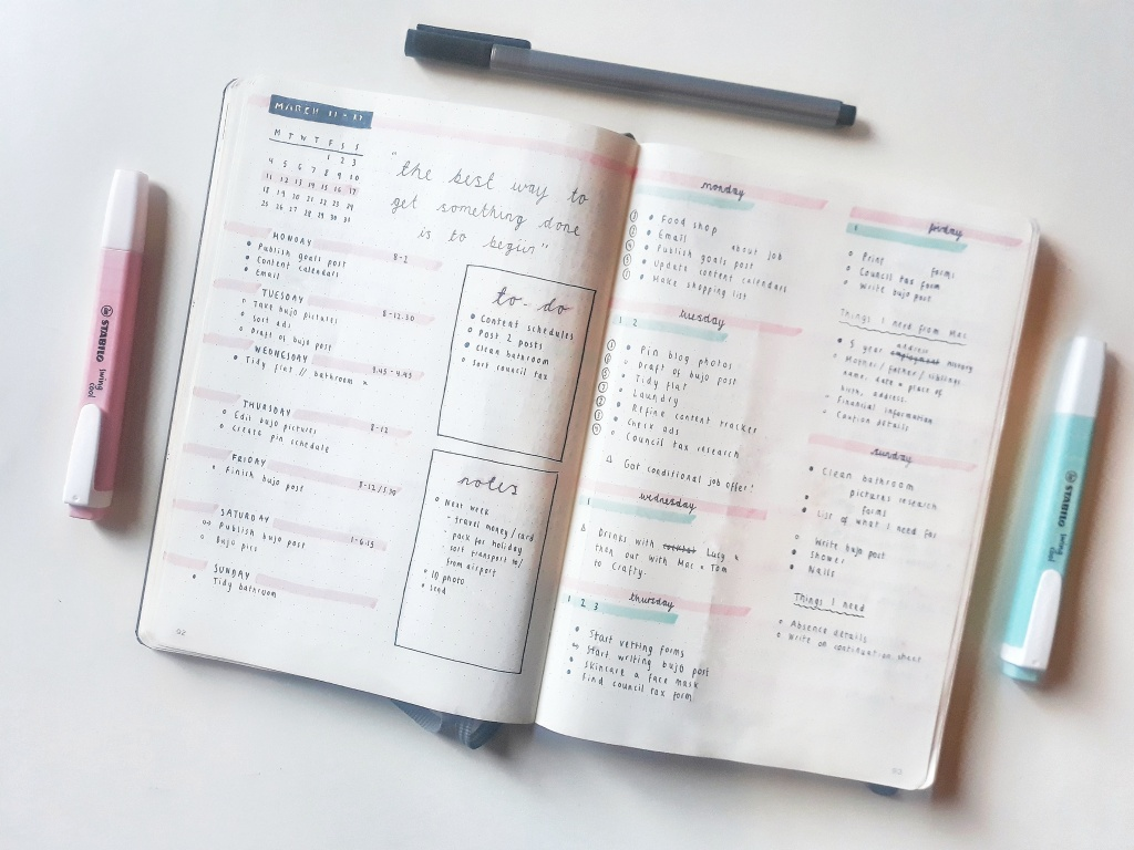 Bullet journal weekly log, with a weekly calendar and my daily to-do lists.