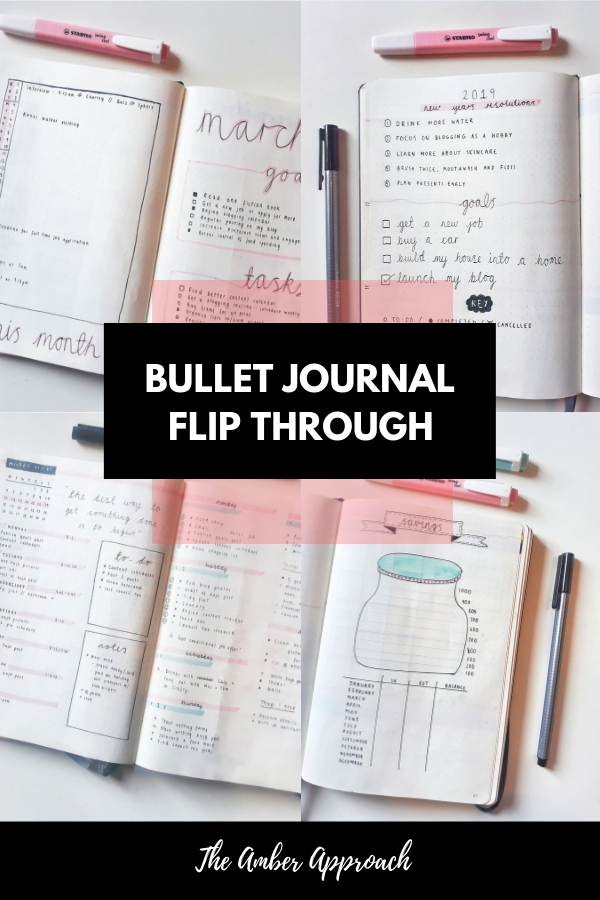 Four photos with examples of bullet journal pages with the overlay 'Bullet Journal Flip Through' by The Amber Approach